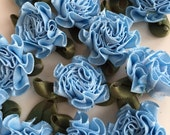 Blue Ribbon Flowers Carnations, 20 Handmade 25mm Ribbon Flowers in Baby Blue