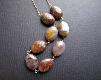 Pietersite Necklace, 14K Gold Fill Chain Necklace with Gemstones, Natural Stone Jewelry