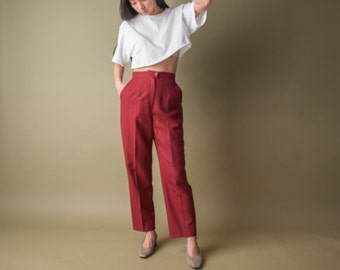 pinstriped maroon high waist trousers / tapered pants / high waist baggy trousers / s / 1536t