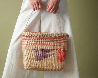 70s woven bir print basket purse / woven straw tote / 1194a