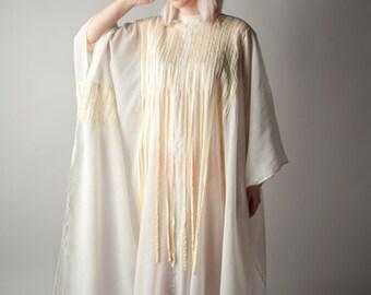 white gauze fringe caftan dress / hippie wedding dress / oversized maxi dress / s / m / 1764d