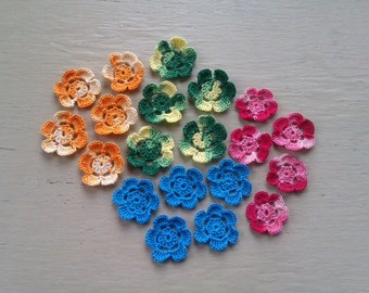 10s of 1.25 inch crochet Flowers for cardmaking / scrapbooking / applique