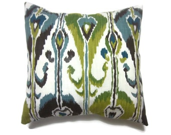 Decorative Pillow Cover Ikat Design Shades of Blue Green Brown Deep Teal White Same Fabric Front/Back Toss Throw Accent 18x18 inch x