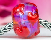 Pink Red Hearts Charm - Lampwork Glass Bead by Clare Scott SRA
