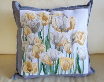 Blooming Tulips   Cross Stitch Pillow   Custom Cross Stitch