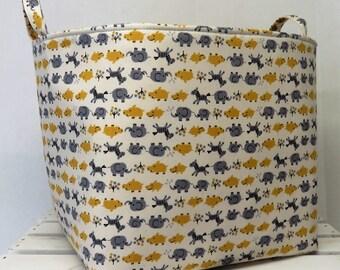 Fabric Organizer Bin Toy Storage Container Basket - Yellow Gray Kawaii Animals - Zebra - Elephant on Cream  Fabric - 10 x 10 x 10