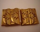 Golden Art Deco Rhinestone Belt Clasp