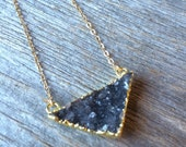 Dark GREY gray quartz small triangle druzy crystal drusy gold filled necklace