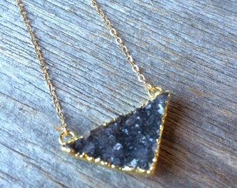 Dark GREY gray quartz small triangle druzy crystal drusy gold filled necklace