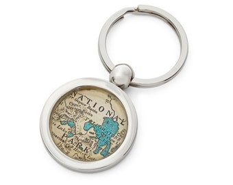 Yellowstone Keychain Map Key Ring Fob Chain National Park Free Shipping We can do any park!