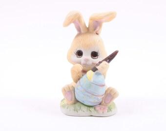 Enesco Vintage Ceramic Easter Rabbit Painting Egg Figurine Statue