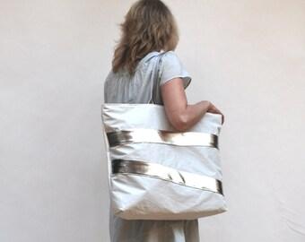 Silver Stripe Recycled Sail BIG Beach Tote Bag