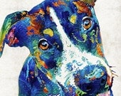 Colorful Jack Russell Terrier Dog Art PRINT from Painting Dogs Pets Cute Rainbow Animal Pop Art CANVAS Ready To Hang Fun Funny Small Breed