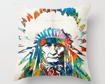 Native American Pillow COVER Art Indian Chief Warrior Pow Wow Tepee Colorful Decor Artsy Decorating Headdress Living Room Bedroom Bedding