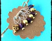 Snag Free Stitch Markers Medium Set of 8 -- Golden Red/Blue Glass and Golden Moon Face -- M3 -- For up to size US 11 (8mm) Knitting Needles