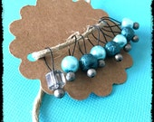 Snag Free Stitch Markers Small Set of 8 - Aqua and Teal Glass Pearls with Gray  -- K77 -- Up to size US 8 (5.0mm) Knitting Needles
