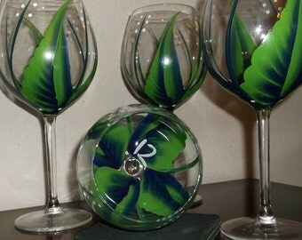 Hand painted Seattle Seahawks 12th Man Wine glasses