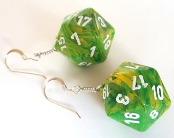 D20 Twenty Sided Dice Earrings - Green and Yellow Swirl with White Numbers - Geeky Gamer Jewelry