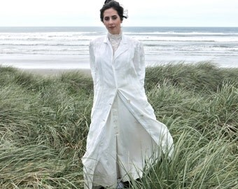 White Linen Ladies Motoring Duster Coat Size Small