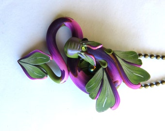 Dragon Necklace, Fairy Rider, Miniature Polymer Clay Dragon Pendant in Sage Green and Purple