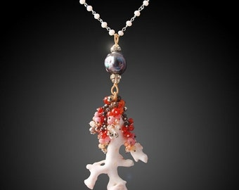 ON SALE 15% OFF Japanese White Coral Necklace with Kasumi-like Pearl, Carnelian, Rhodochrosite, Garnet, Pyrite, Zircon, Chalcedony, and Vint