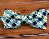 Mens Bow Tie - blue green white plaid diamond tip cotton bow tie, mens bowtie, teen bow tie, wedding bow tie, anniversary gift for him, tie