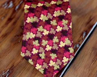 Mens Necktie - Thanksgiving Fall Leaves on Cotton Neck Tie, Traditional Self-Tying Necktie for Men and Teen Boys, red pink necktie, gift tie