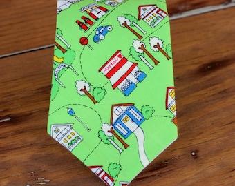 Boys City Scene Necktie, boy's cotton necktie, toddler necktie, boys wedding necktie, ring bearer necktie, novelty necktie, gift for him