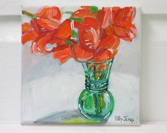 Reserved for Cheryl Gladiolus in Green Glass original acrylic still life painting by Polly Jones