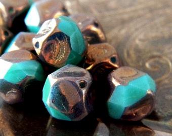 Esmeralda (10) -Czech Glass Central Cut Rounds 9mm