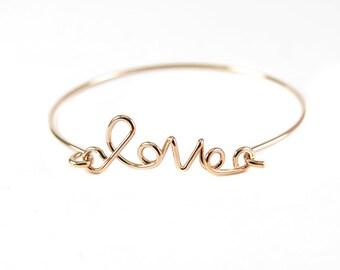 "Rose Gold Plated ""Love"" Wire Cuff Bracelet (1x) (K400-D)"