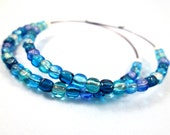 Colorful Hoop Earrings, Blue Green and Teal Glass Beaded, Gunmetal Silver Hoops, FREE Shipping U.S.