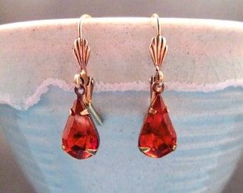 Rhinestone Drop Earrings, Amber Glass Stones, Victorian Pendants, Brass Dangle Earrings, FREE Shipping U.S.