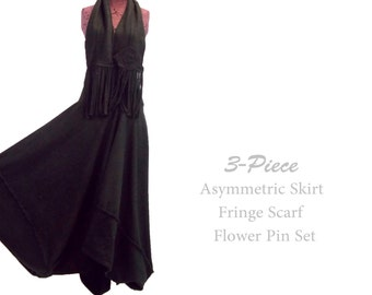 Sale Long Asymmetric Fleece Skirt and Matching Fringe Scarf Flower Pin L XL Large
