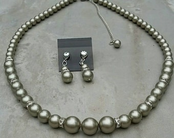 Swarovski Platinum Pearl Necklace and Earrings