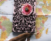 Passport Cover Handmade Fabric French Theme with RFID Protection Pink and Black