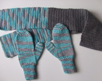 Handknit Mittens, Hand Crocheted Scarf - Shades of Aqua, Gray, White, Gray - For Women and Teens