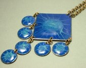 Vintage/ estate 1960s / 1970s Danish Denmark Sejero copper and blue enamel costume necklace - modernist, abstract jewelry / jewellery
