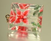 Vintage/ estate 1950s retro/ kitsch, reverse carved lucite red pink flower costume pendant - jewelry / jewellery