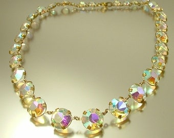 Vintage/ estate 1950s retro kitsch glam, clear aurora borealis rhinestone costume necklace - jewelry jewellery , UK seller
