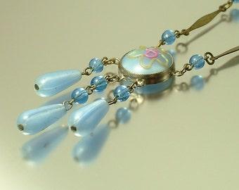 Vintage/ antique/ estate Art Deco 1930s pale blue satin glass lavalier costume necklace - jewelry / jewellery