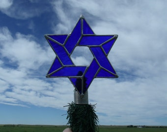 Mini Jewish Star Bush Topper, Stained Glass Interfaith Holiday Decoration, Combined Religion Christmas Tree Topper