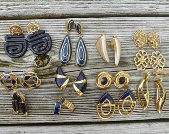 Lot of Vintage Earrings, Art Deco Pierced Earrings, Signed Monet, Signed Napier, Monet Earrings, Napier Earrings, Large Studs