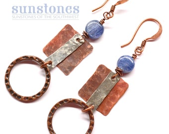 Hammered Rustic Mixed Metal Earrings with Kyanite E838