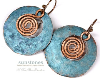 Rustic Copper Earrings E919