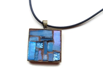 Slate Blue Mosaic Pendant with Bronze Bezel