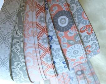 "3/4"" Weaving Star Paper~ Classic Italian Prints in Pinks & Greys (50 strips)"