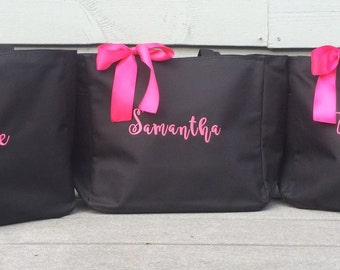 Monogrammed Tote Bag - Set of 4 - Embroidered Personalized Bridesmaid Bridal Party Daycare