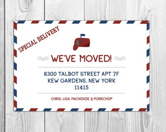 Special Delivery Airmail Moving Announcement Postcards