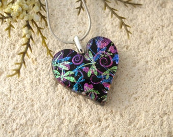 Dragonfly Necklace,  Dichroic Jewelry, Heart Necklace, Heart Jewelry, Dragonfly  Pendant, Fused Glass Jewelry, Contemporary, 051816p110
